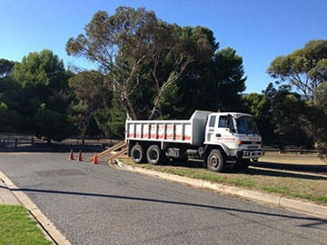 Tipper Truck Getting Ready For Excavation On Driveway Repair